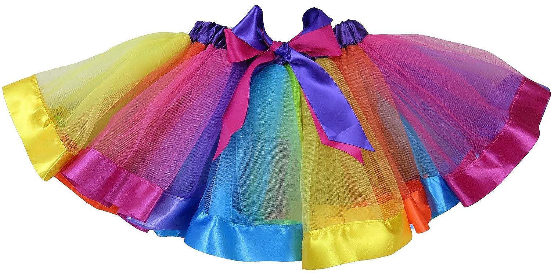 wenchoice Girls Rainbow Striped Ribbon Trim Tutu Skirt/�