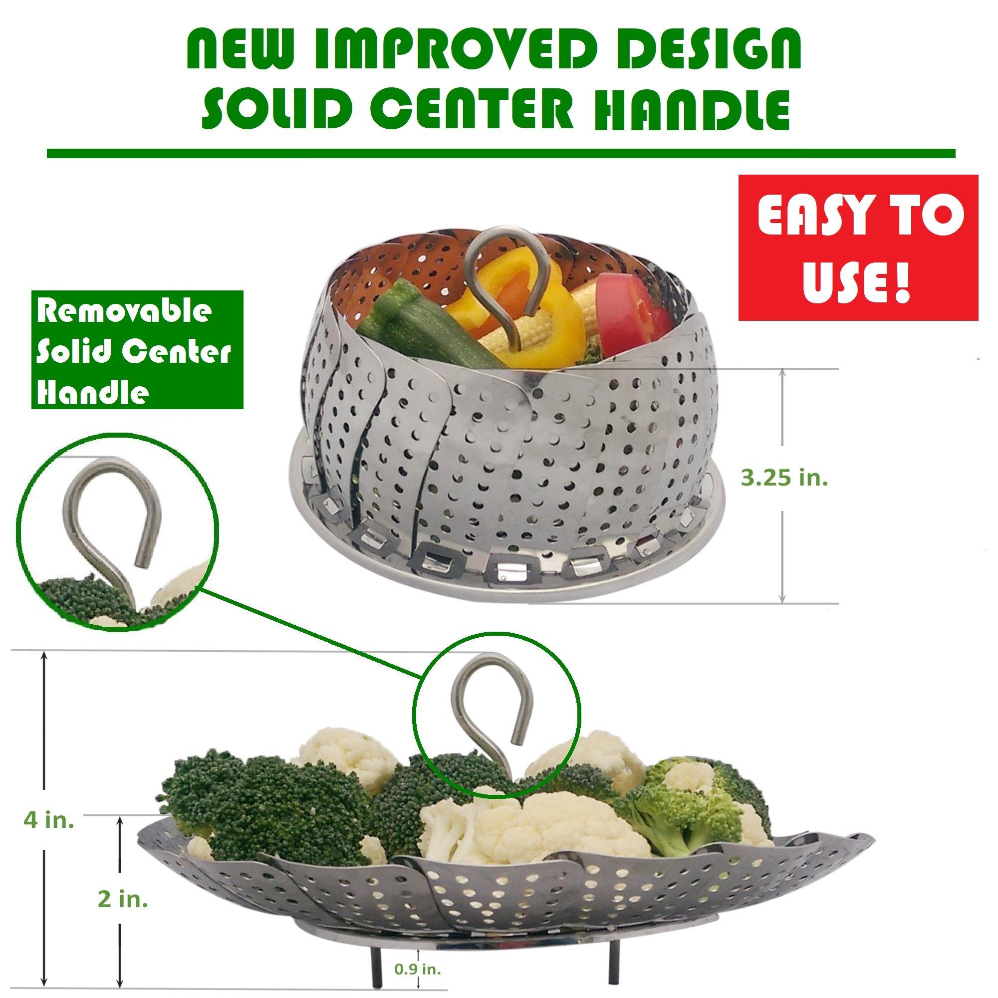 PREMIUM Vegetable Steamer Basket - BEST Bundle - Fits Instant Pot Pressure Cooker 3,5,6 Qt & 8 Quart - 100% Stainless Steel - BONUS Accessories - Safety Tool + eBook + Peeler | For Instapot - Egg Rack by kitchen deluxe (Image #3)