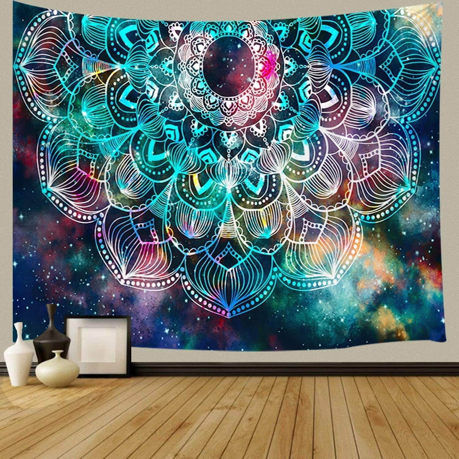 Mandala Wall Tapestry, Psychedelic Trippy Tapestry, Bohemian Hippie Mandala Flower Wall Hanging Tapestry for Yoga Bedroom Living Room Dorm Wall Decor Art Tapestry 71x60 inches