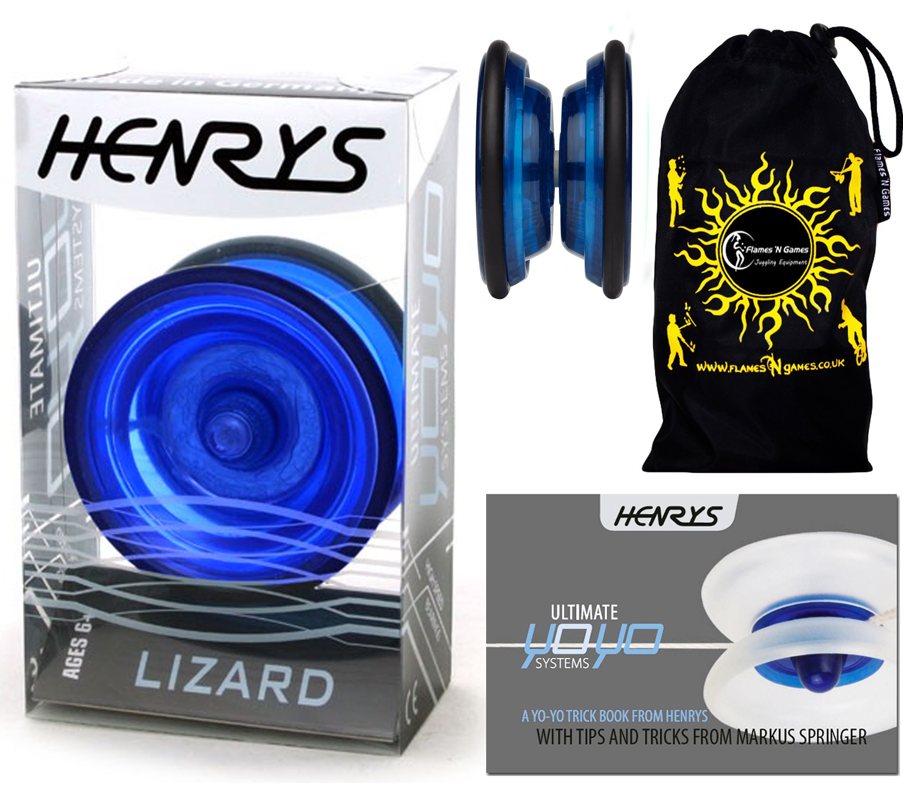 Henrys LIZARD YoYo (Blue) Professional Entry-Level YoYo +Instructional Booklet of Tricks & Travel Bag! Pro YoYos For Kids and Adults!
