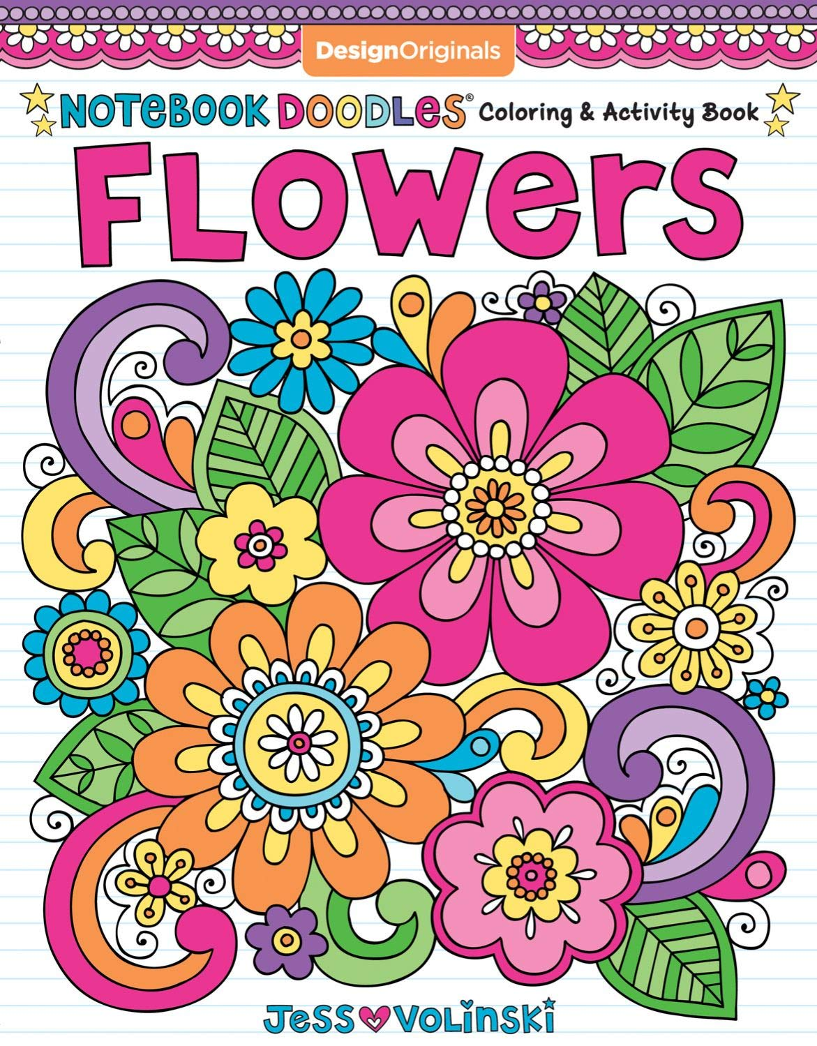 Notebook Doodles Flowers Coloring Activity Book Design