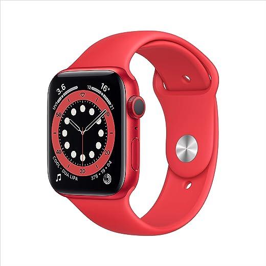 ساعة ابل ووتش سيريز 6، مزودة بالنظام العالمي لتحديد المواقع (جي بي اس)، هيكل مقاس 44 ملم من الالومنيوم، لون احمر، سوار رياضي - تصميم ريغيولار