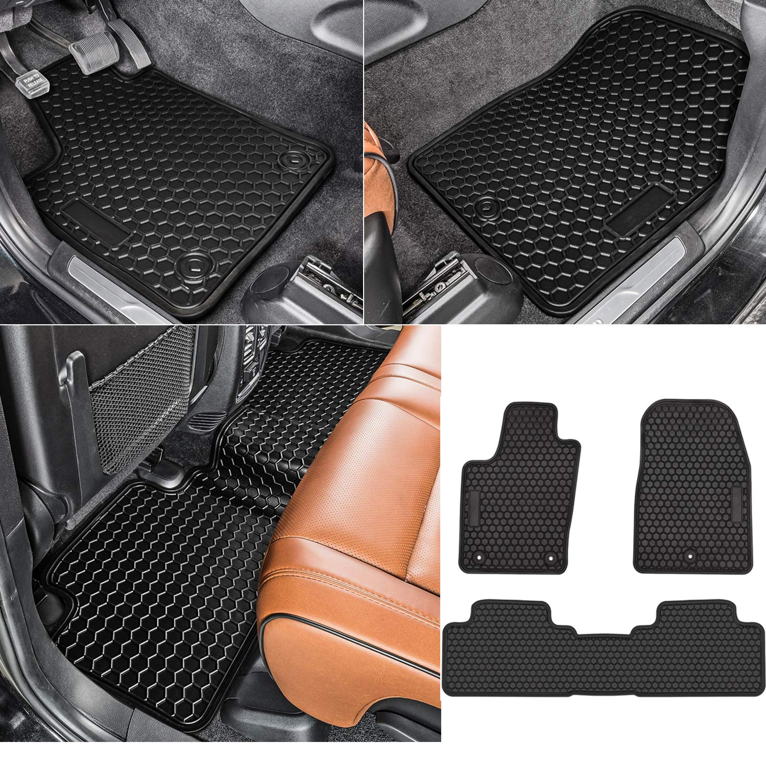 Custom Fit All-Weather Guard Odorless Heavy Duty Rubber bonbo Floor Liner Mats for Jeep Grand Cherokee 2011-2016 Pack of 3 Front and Rear Seat Floor Mats