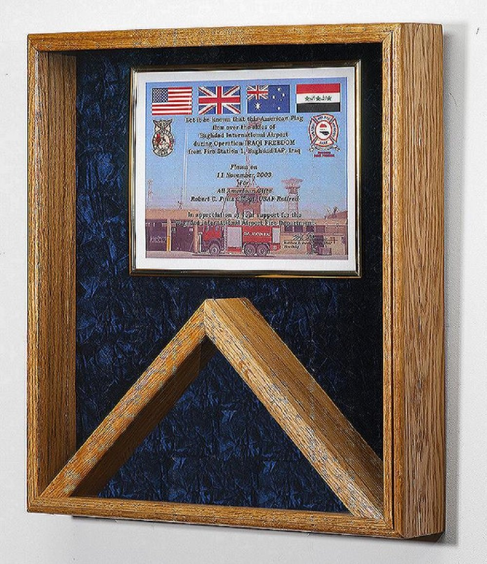 Military Shadow Box 3x5 Flag & Certificate Display Case - (Blue Velvet) other velvet colors available by All American Gifts