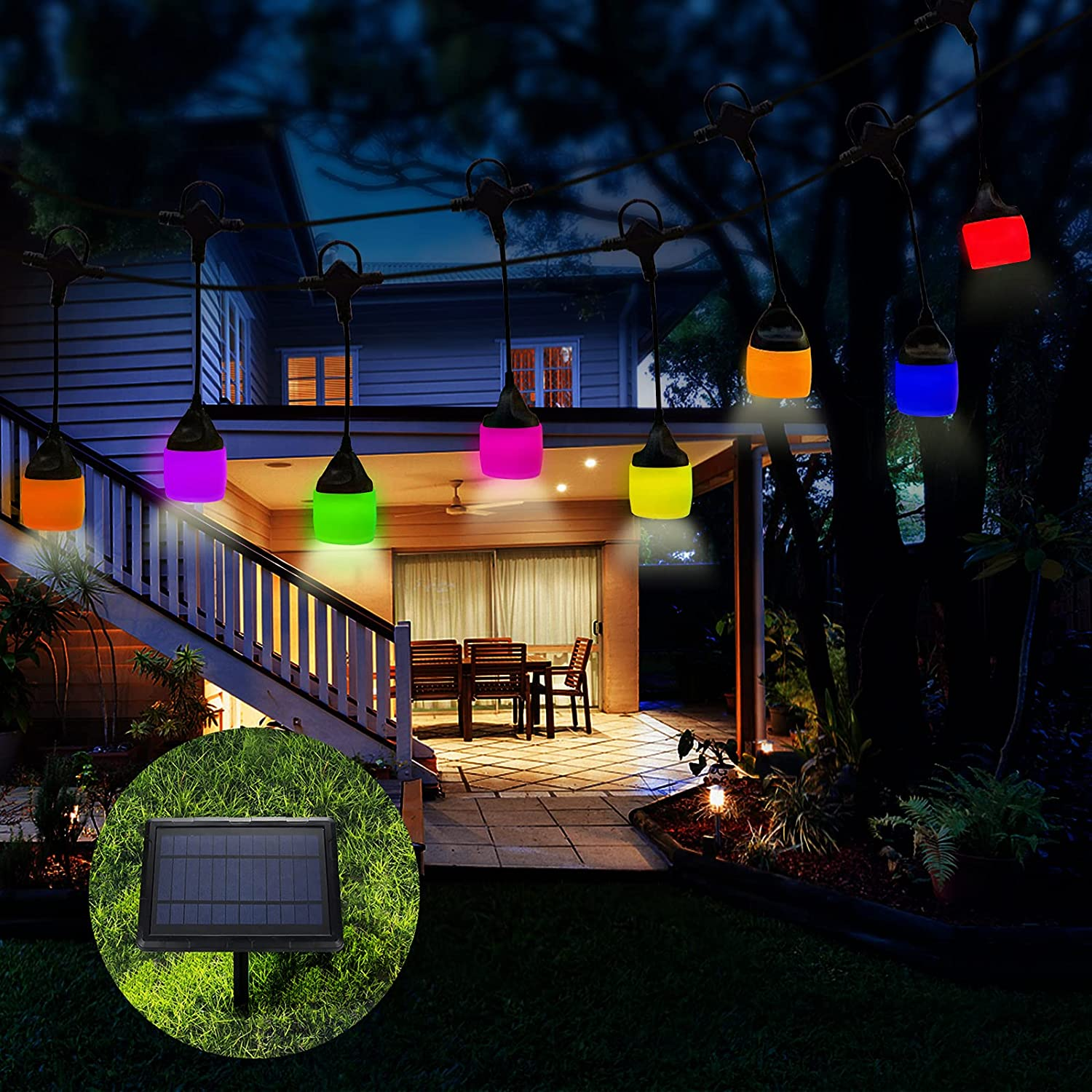Outdoor String Lights LED Waterproof for Patio, FULLOVE 41 FT Warm White Garden Solar Lights with 8 Modes 12 Bulbs, Hanging Outdoor Lights String for ard Home Party Wedding Christmas Decoration