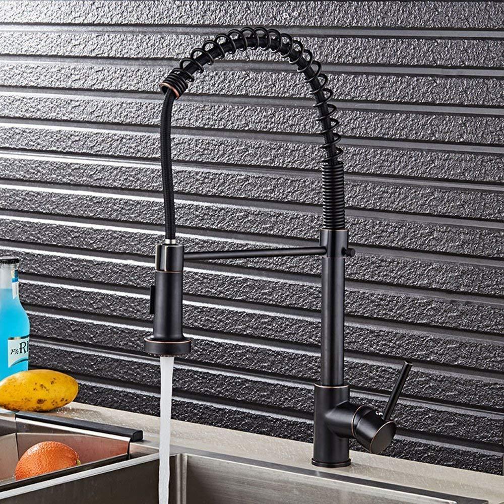 ULABLE Design Küchenarmatur mit Ausziehbar Brause 360°Drehbar Spiralfeder Spültischarmatur mit Herausziehbarer Geschirrbrause Einhebelmischer Küche Wasserhahn aus Messing