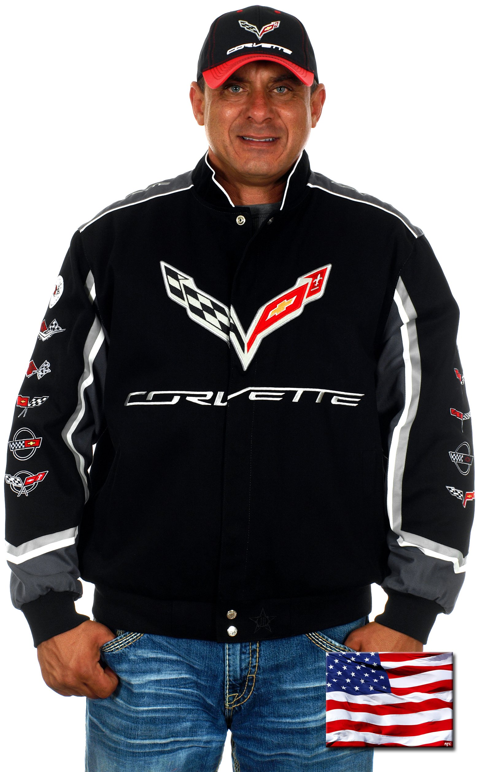 JH DESIGN GROUP Mens Chevy Corvette Embroidered Cotton Twill Jackets (X-Large, CLG7-Black)