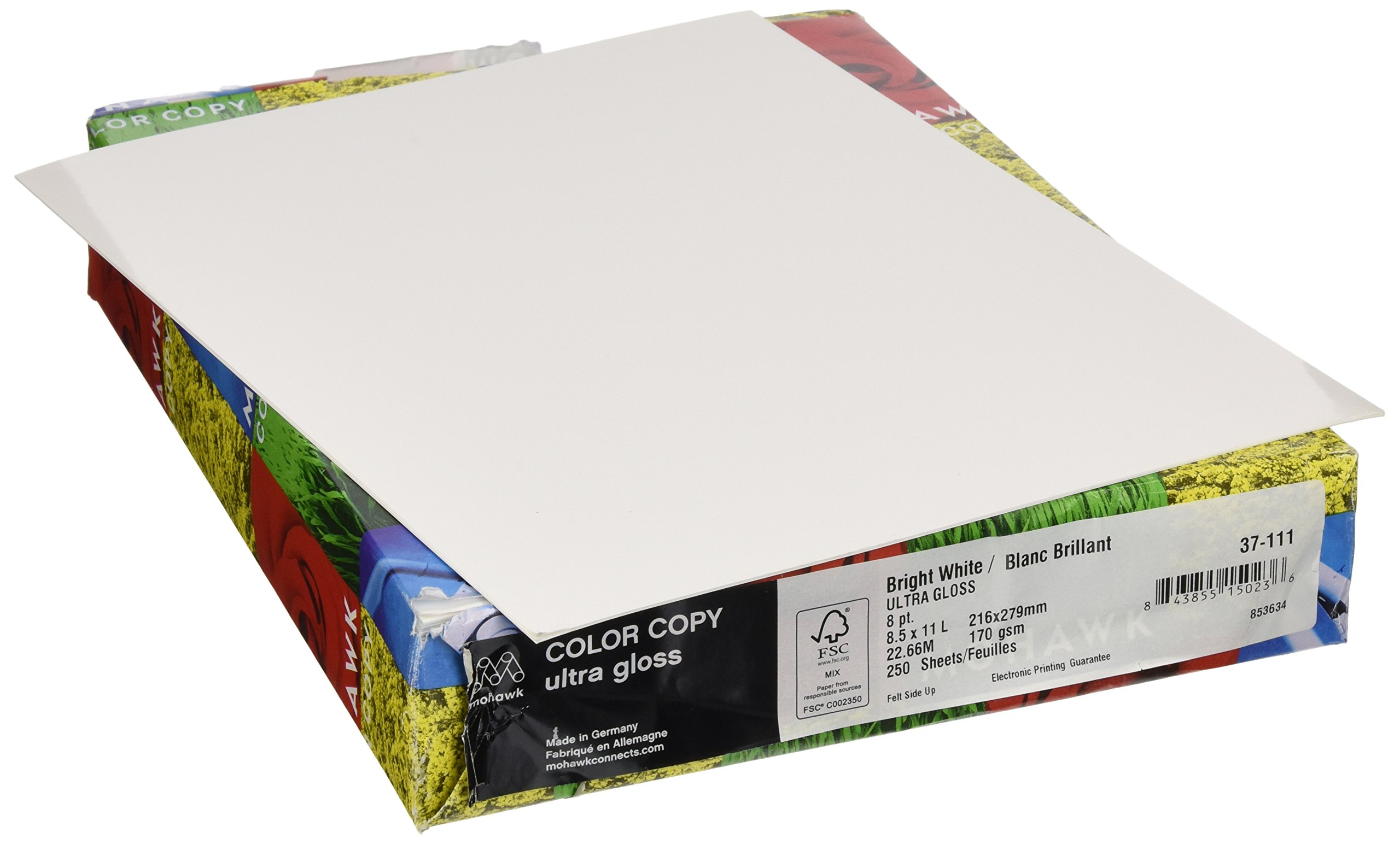 Mohawk Color Copy Ultra Gloss Cover Paper 92-Bright White Shade, 8-Point 8.5 x 11 Inches 30% pcw 250 Sheets/Ream - Sold as 1 Ream (37-111)