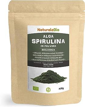 Alga Espirulina Ecológica En Polvo 400g. 100% Orgánica, Natural y Pura, Cultivada en India en Tamil Nadu. Ideal en bebidas y batidos, o recetas. Apto ...