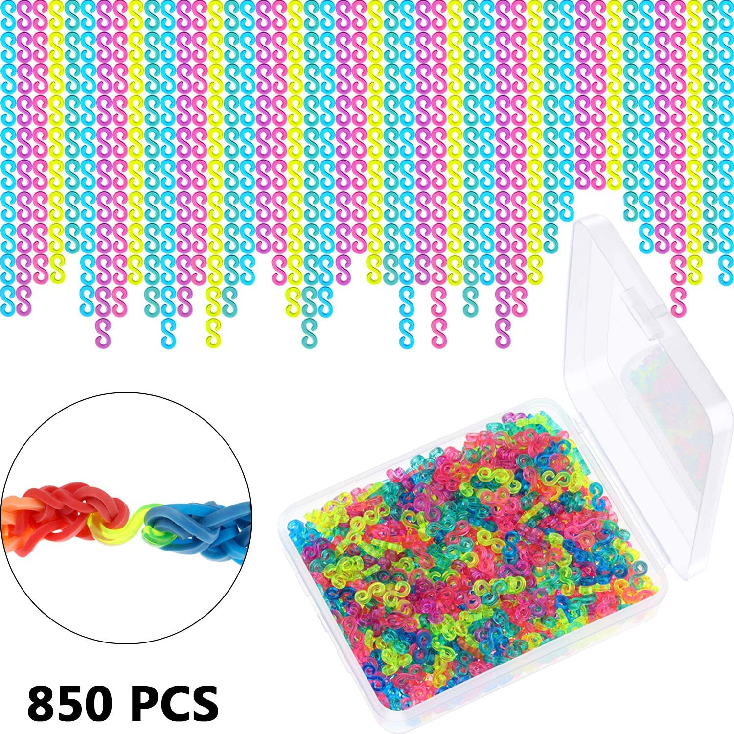 Clear 850 Pieces S Clips Rubber Band Clips Loom Band Clips Bracelet Loom Kit Clips for Crafts Making