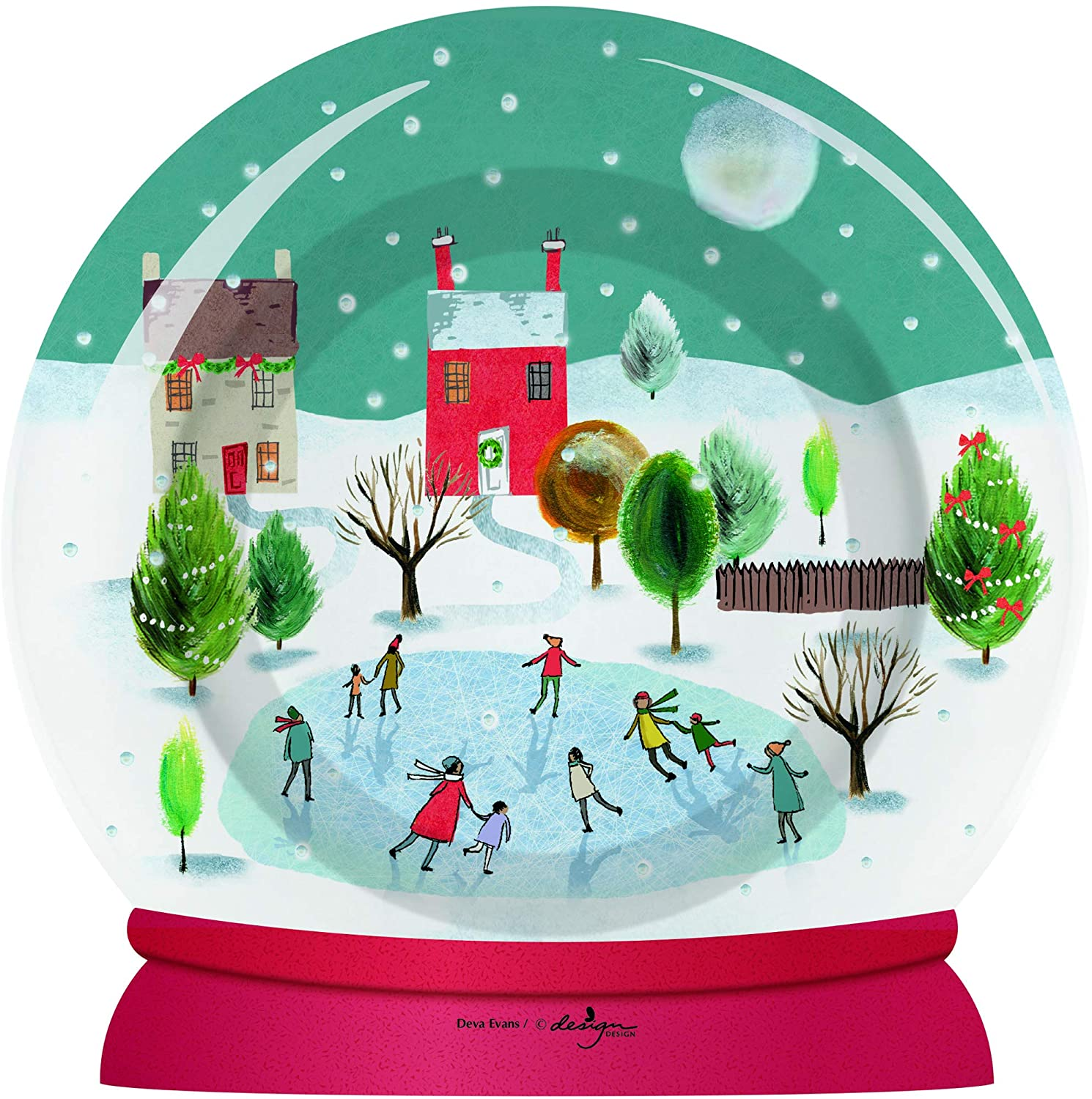 Christmas Snow Globe Die-Cut Luncheon Plates and Napkins by Design Design