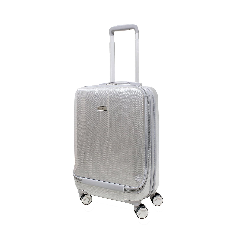 EXZACT Bagage de cabine / Sac de transport - 20 / coque dure / Hardside / Poche avant pour ordinateurs portables / 4 roues à 360° / léger - Pour Ryanair, Easyjet, British Airways, Virgin Atlantic et plus - Argent EX17019CB