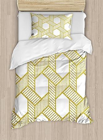 Gold Und Weiß Bettbezug Set By Ambesonne Geometrische Linien