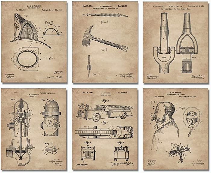Firefighter Patent Print Set of 6 (8