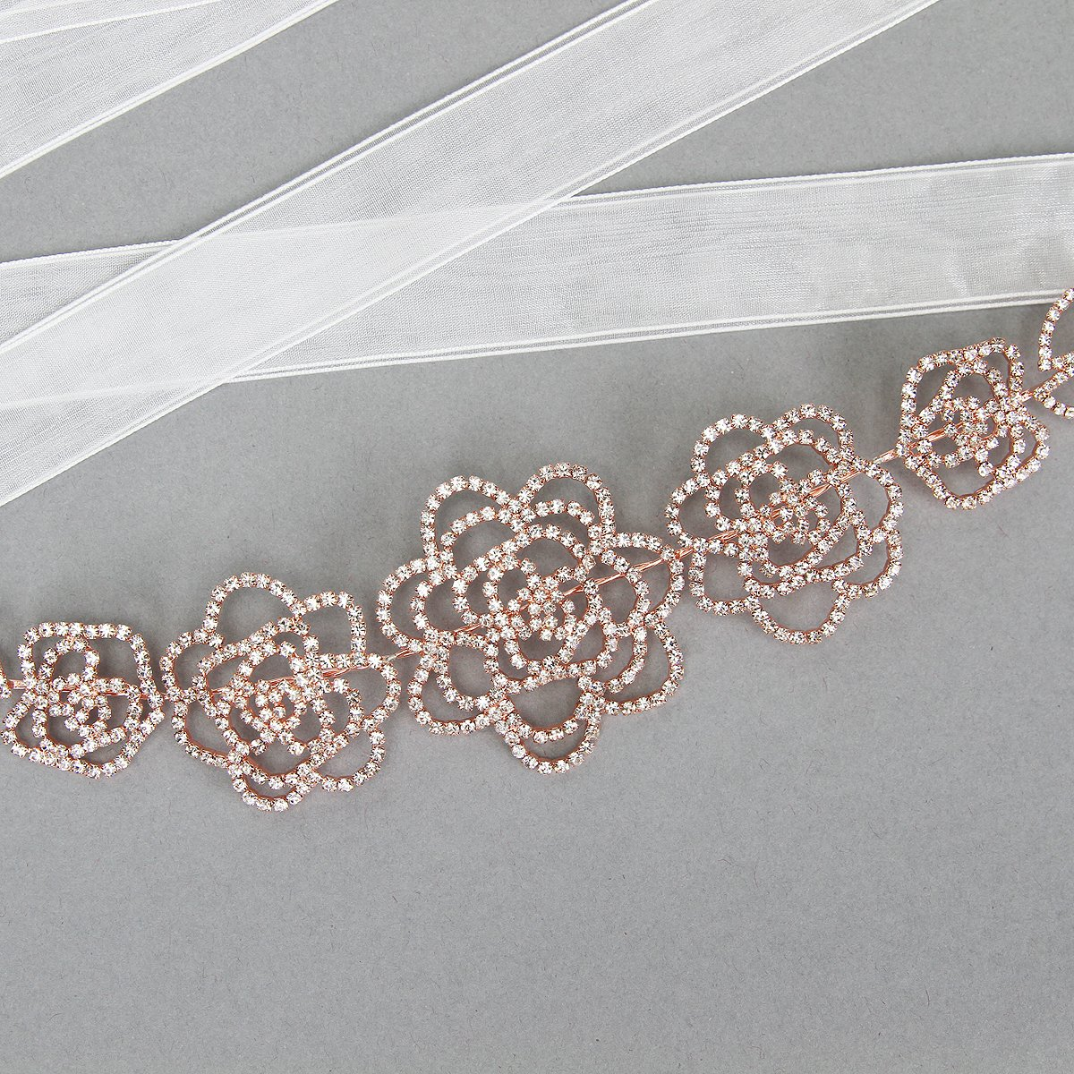 Wedding Bridal Rhinestone Rose Petals Sash Belt in Rose Gold