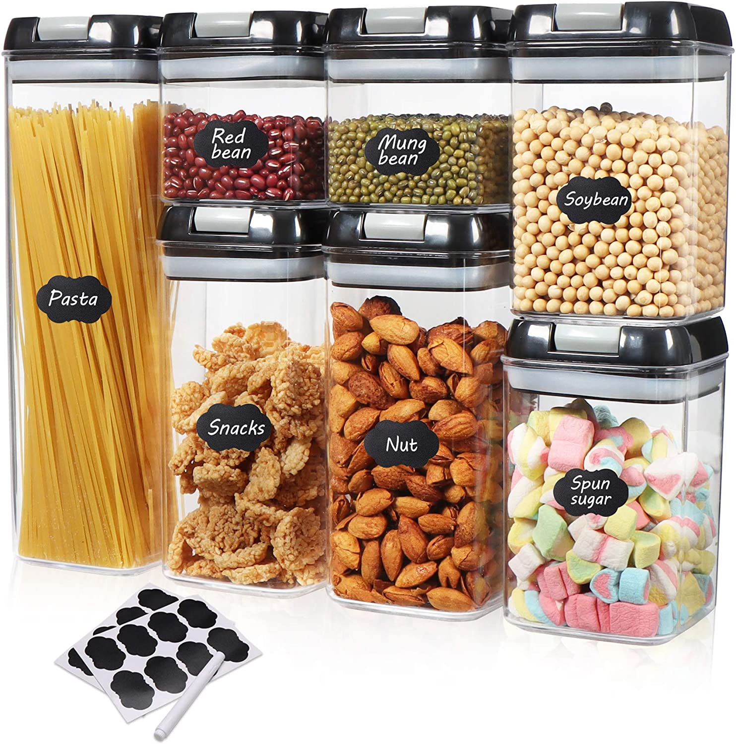 Airtight Food Storage Container, 7 PC Kits-Labeling and Marking-Kitchen and Food Storage Containers-BPA-free, Transparent Plastic Jars for Flour Grains and Plastic Jars with Modified Lid