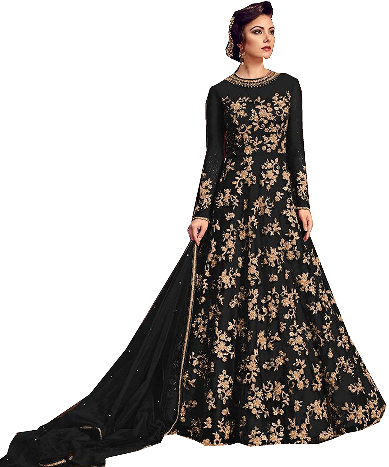 Amazon Com Delisa Indian Pakistani Bollywood Party Wear Long Anarkali Gown For Womens Razzi Violate N Clothing