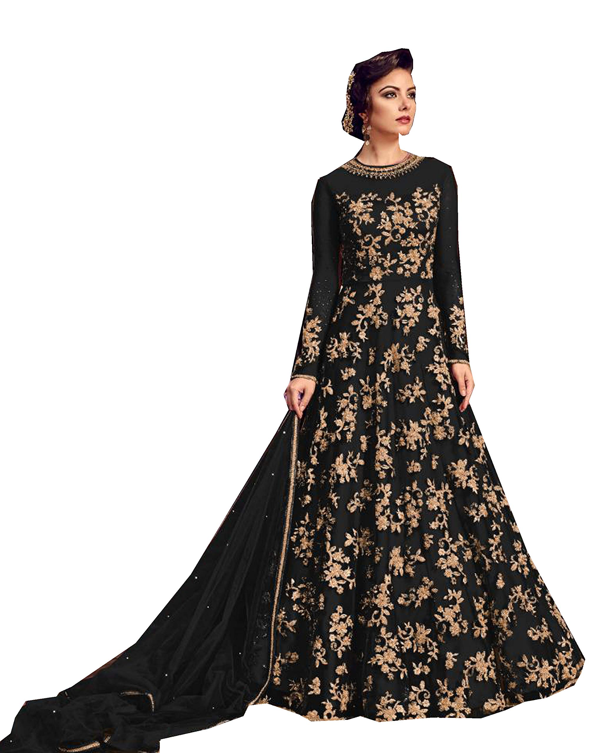 Delisa Indian/Pakistani Bollywood Party Wear Long Anarkali Gown for Womens Razzi violate N (Black, X-LARGE-44)