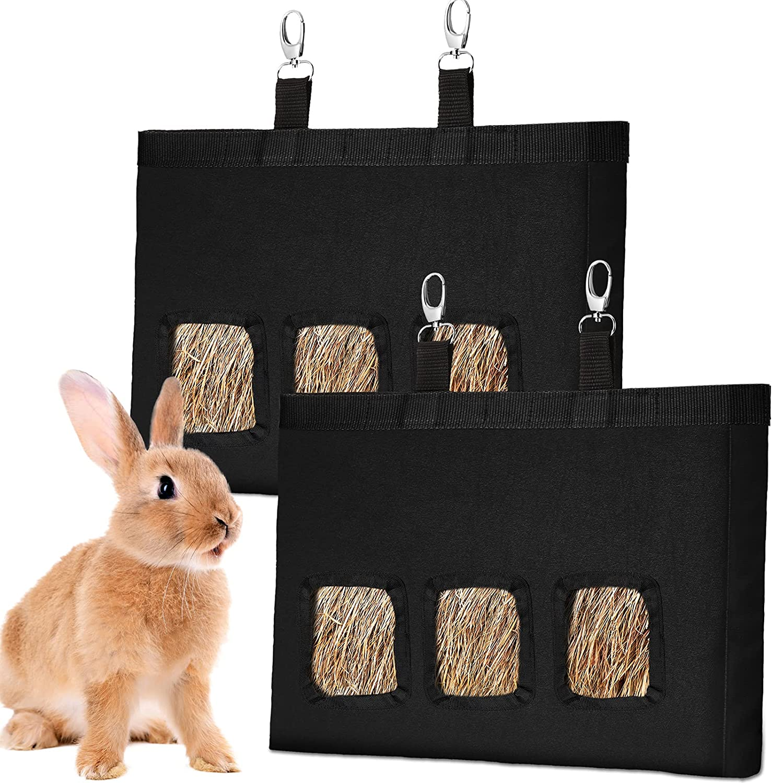 2 Pieces Rabbit Hay Feeder Bag Bunny Guinea Pig Hay Feeder Bag Pig-Pet Hay Chinchilla Hamsters Small Animals Holders Pet Supplies Feeder Food Bowl Feeder Storage Bag Hanging Feeding Device Supply