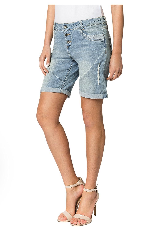 Fresh Made Jeans con Taglio Boyfriend firmati Bermuda | Pantaloncini di Jeans da Donna Effetto Used