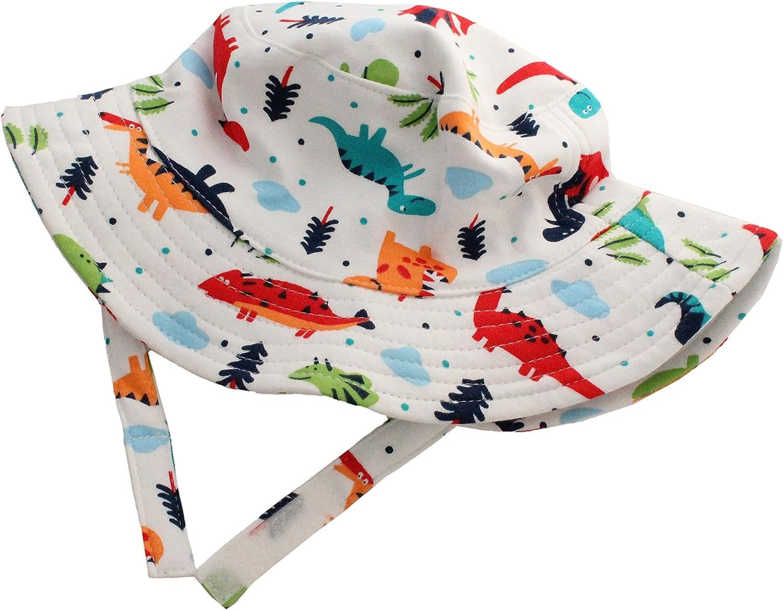 Cappello estivo da sole estivo in morbido cotone con dinosauri e cinturino per il mento.