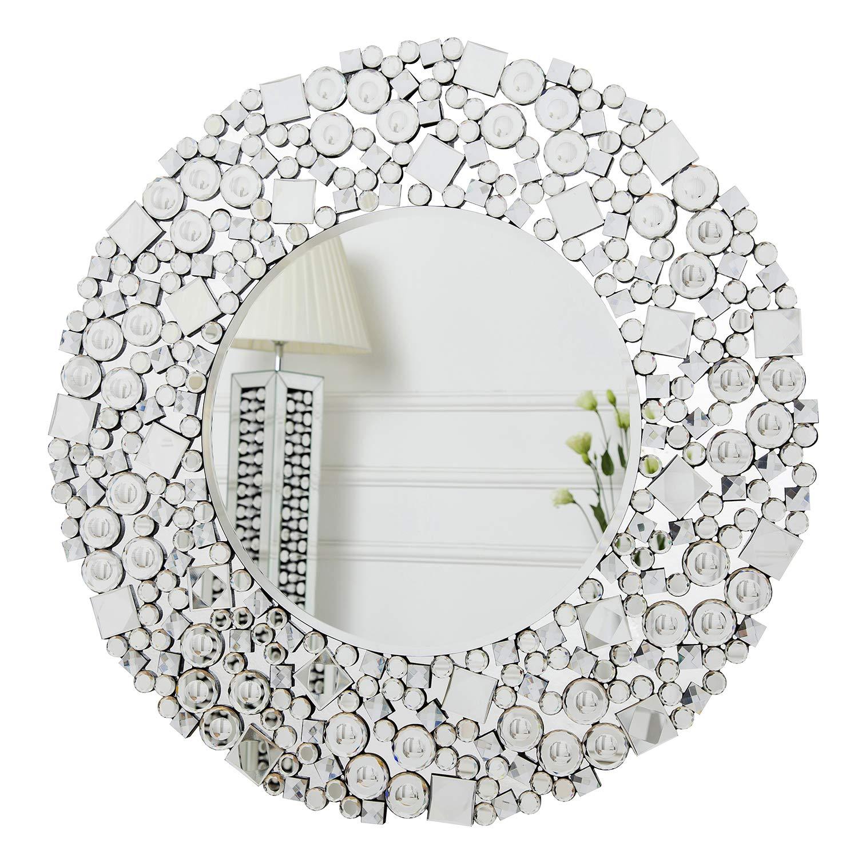 Specchio Rettangolare da Parete in Cristallo Gioiello Mosaico per Soggiorno Camera da Letto 60cm x 90cm specchiera RICHTOP Specchio da Parete