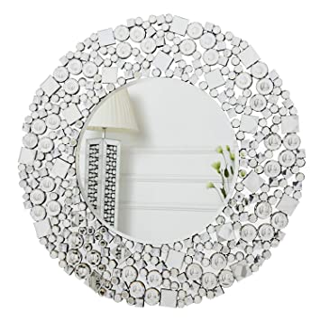 Richtop Wall Mirror Large Crystal Jewel Mosaic Framed Round Wall Mounted Mirrors Bevelled Silver Glass Hung For Living Room Bedroom Hall Hallway