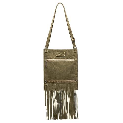 54349448cf6bf Amazon.com  Olive Green Italian Suede Leather Small Sized Fringe Crossbody  Bag  Handmade