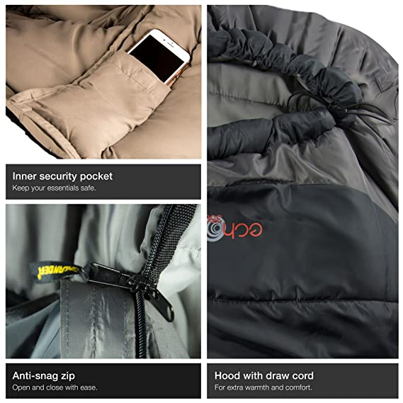 Amazon.com : Highlander Outdoor Echo 350 Sleeping Bag, Charcoal : Sports & Outdoors