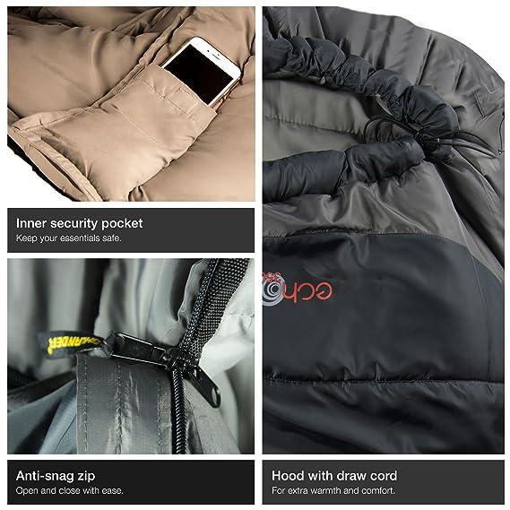 Amazon.com : Highlander Outdoor Echo 350 Sleeping Bag, Charcoal : Sports & Outdoors