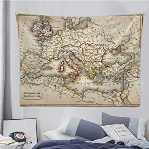 Hitecera Antquie Map of Ancient Roman Map,Tapestry Wall Hanging Ancient Rome Wall Art for Bedroom Decor 78.7X59.1in