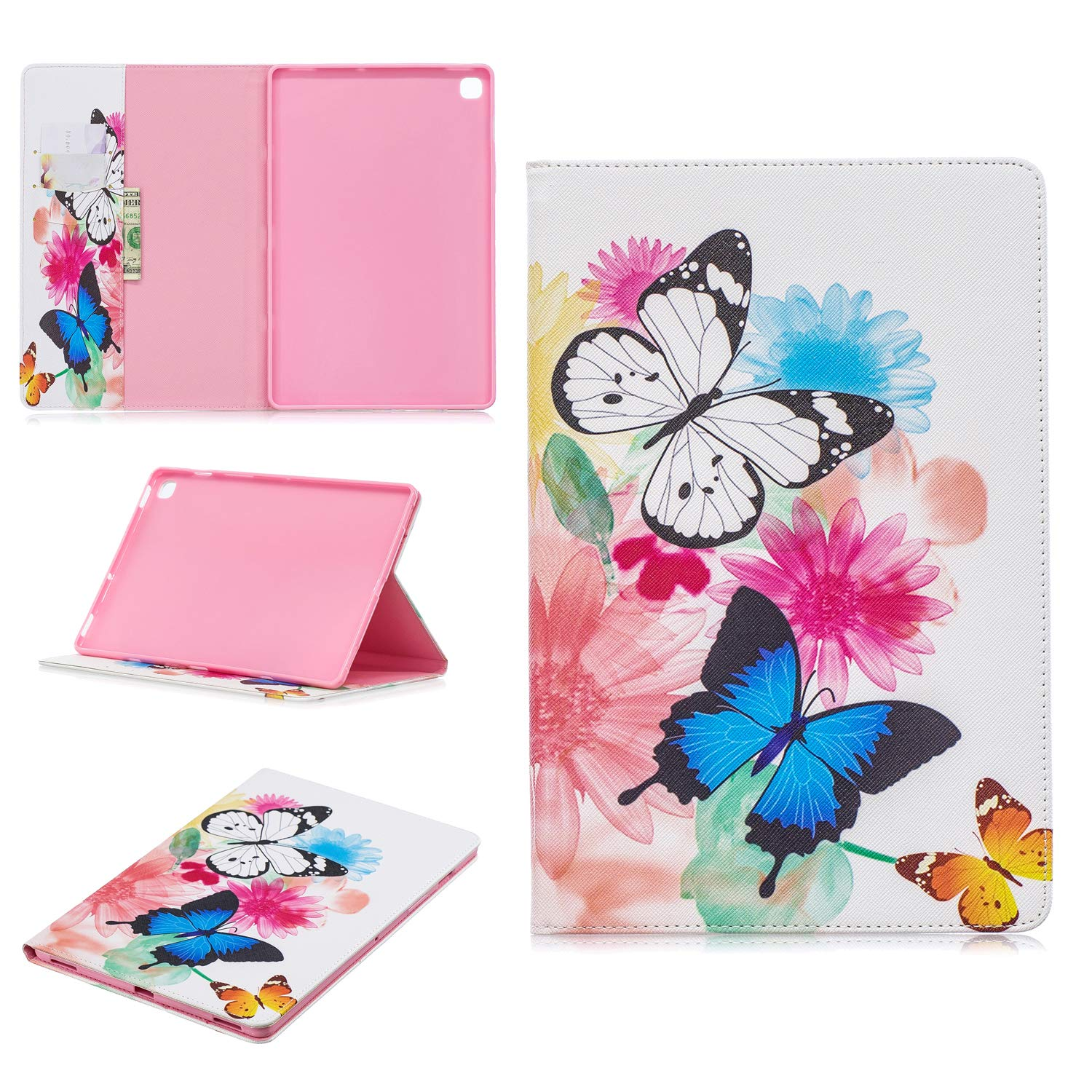 Cfrau Wallet Case with Black Stylus for Samsung Galaxy Tab S5e 10.5'' 2019 (SM-T720),Colorful Print Smart Magnetic Flip PU Leather Card Slots Shockproof Soft Rubber Stand Tablet Case,Colorful Butterfly by Cfrau