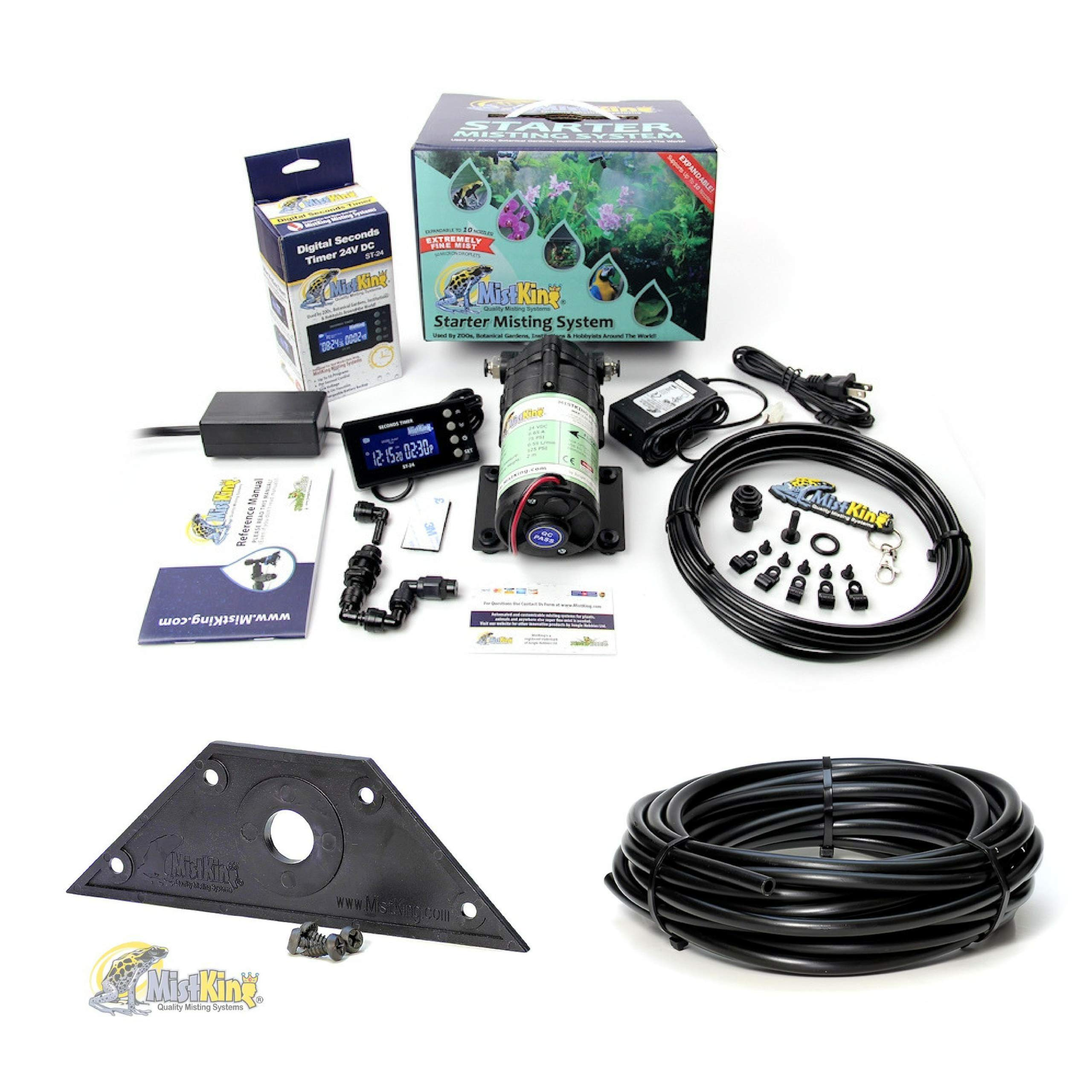 MistKing Starter Misting System Version 4.0 with Mounting Wedge and Extra 25' Tubing   Terrarium Humidifier   Terrarium Mister   Reptile Fogger   Complete Starter Misting System by MistKing