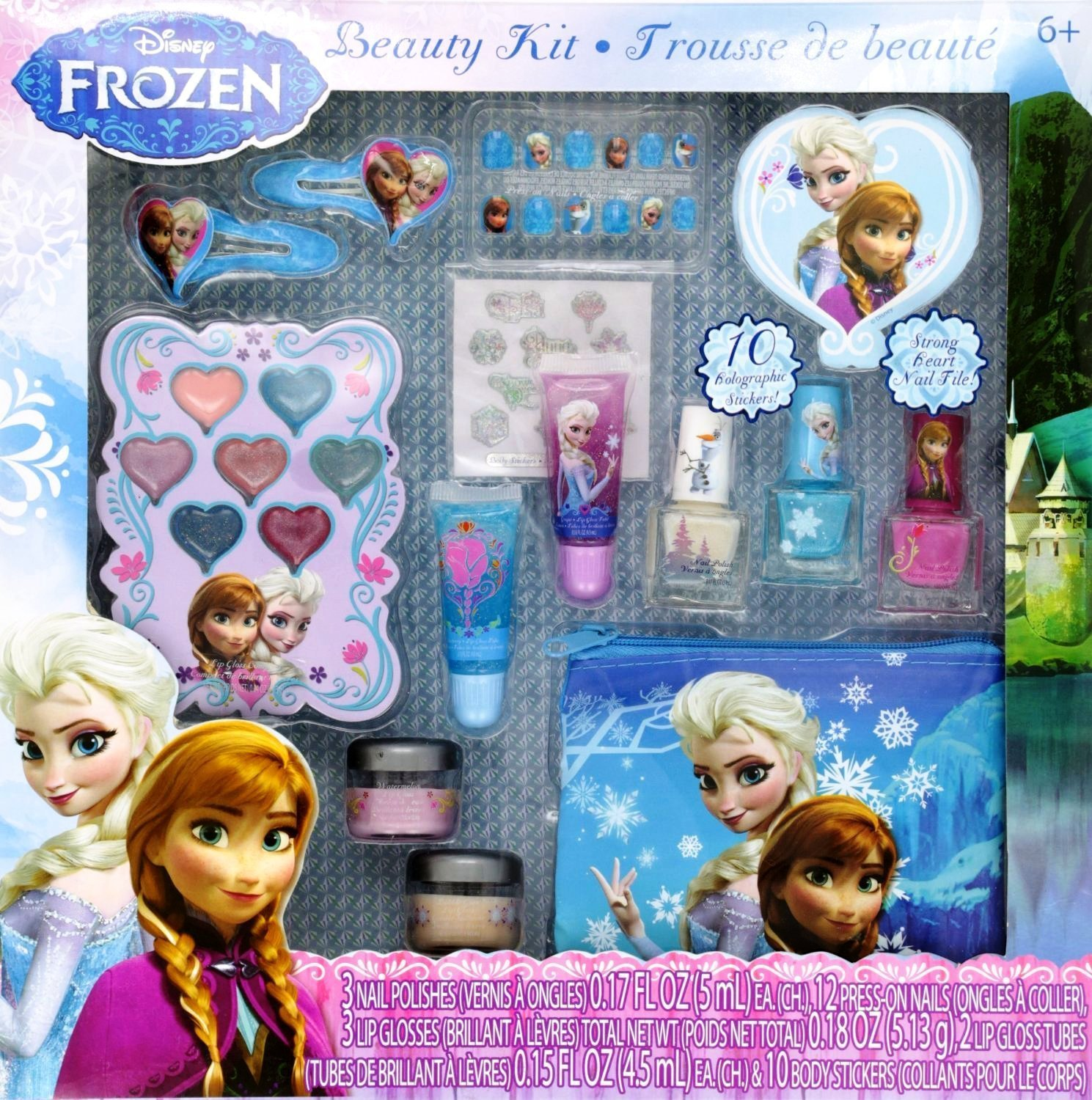 Amazon.com: 12-Piece Disney's Frozen Beauty Cosmetic Set for Kids - Frozen Beauty Play Kit for Kids: Toys & Games