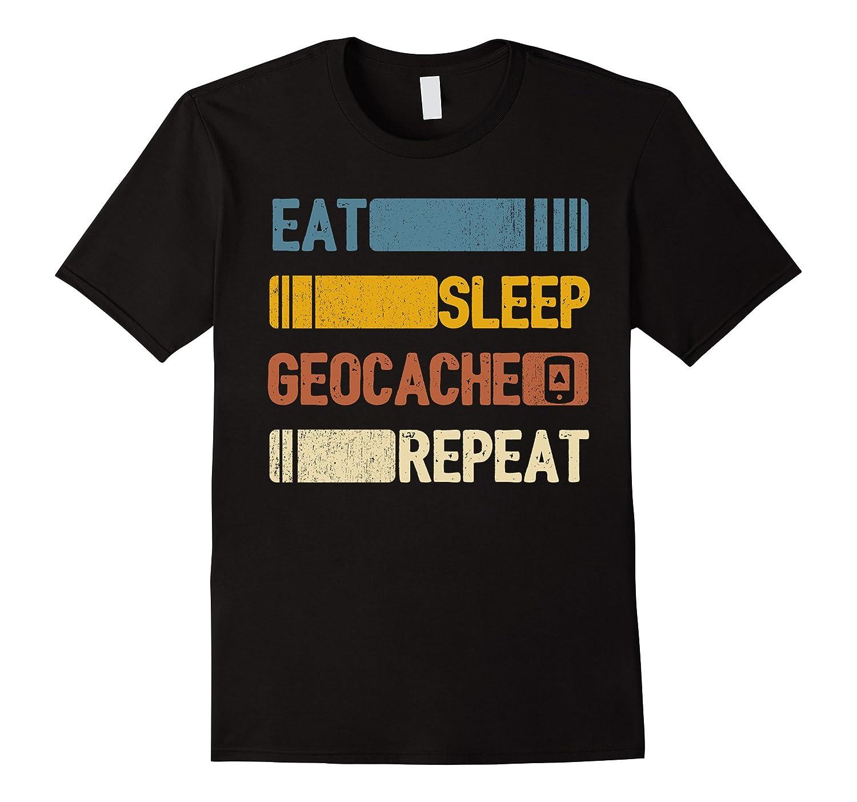 Eat Sleep Geocache Repeat Funny Vintage Retro Gift-FL