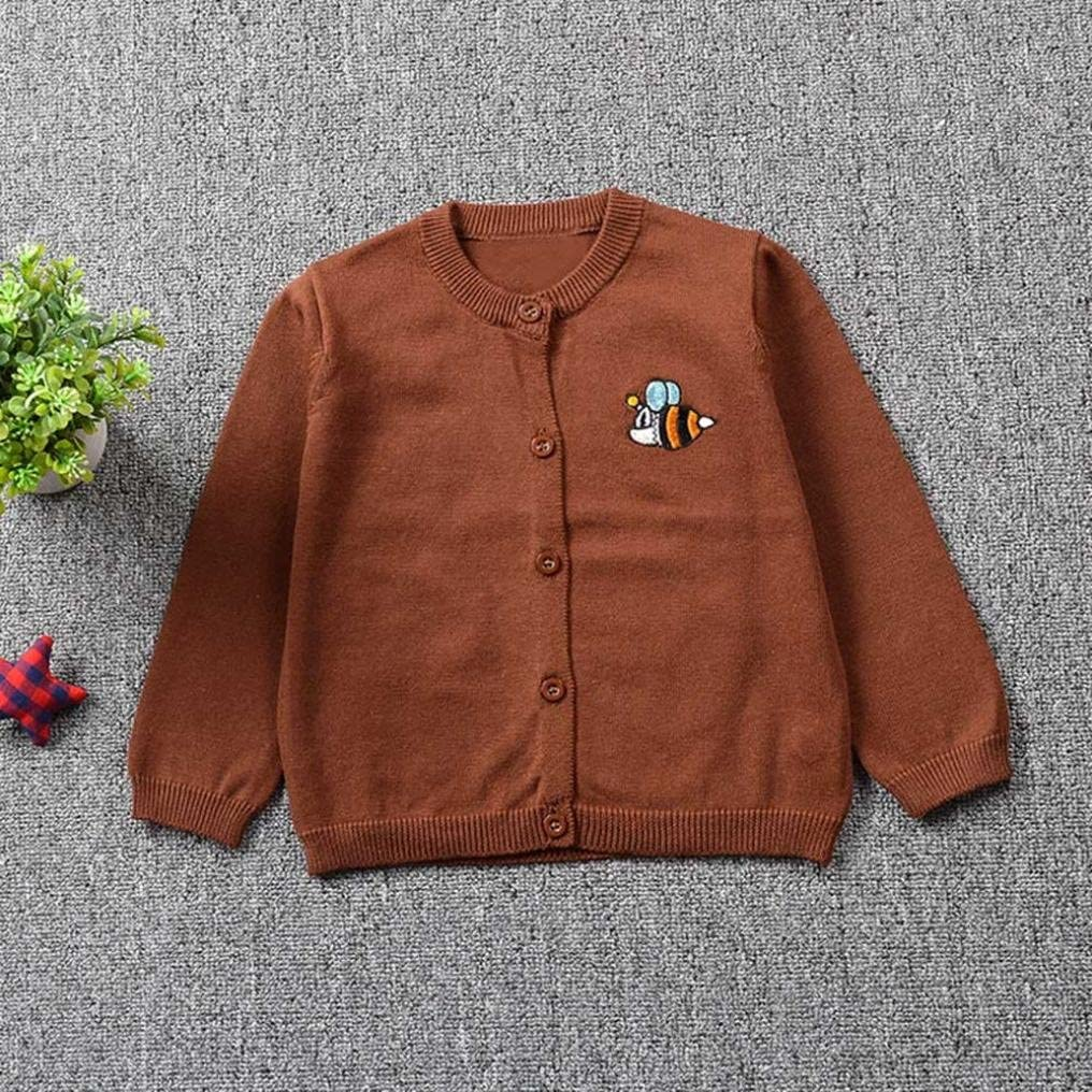 Momola Toddler Kid Baby Boys Girls Knitted Sweater Knitwear Clothes Round Neck Bees Embroidering Solid Color Cardigan Coat Tops Children Under Age 3