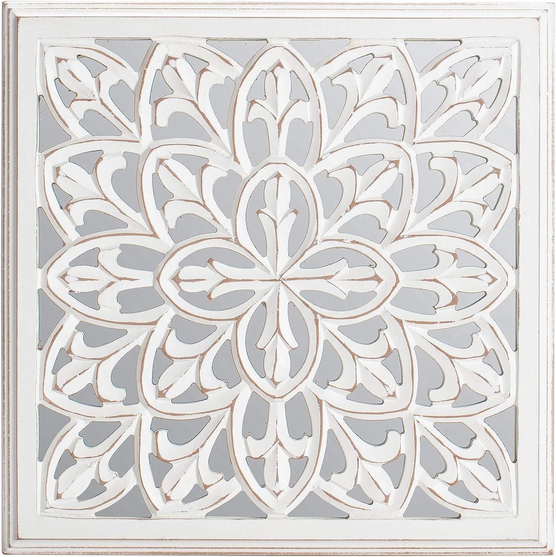 Fetco Meris White 17.5-in. Mirrored Medallion, white & off-white
