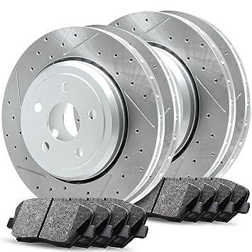Ceramic Brake Pads Front Set R1 Carbon Geomet Drill//Slot Brake Rotors