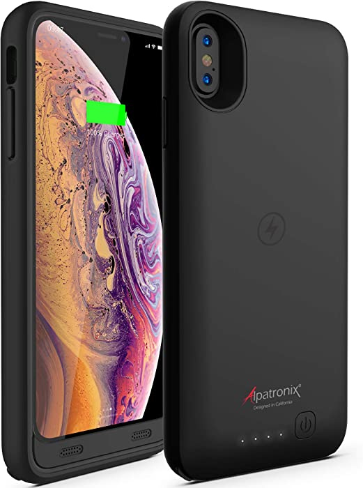 iPhone Xs Max Battery Case, Portable Protective Extended Charger Cover with Qi Wireless Charging Compatible with iPhone Xs Max (6.5 inch) BX10 Max - (Black)