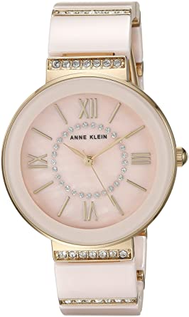 12ab9758c Image Unavailable. Image not available for. Color: Anne Klein Women's  AK/2832LPGB Swarovski Crystal Accented Gold-Tone and Light Pink Ceramic