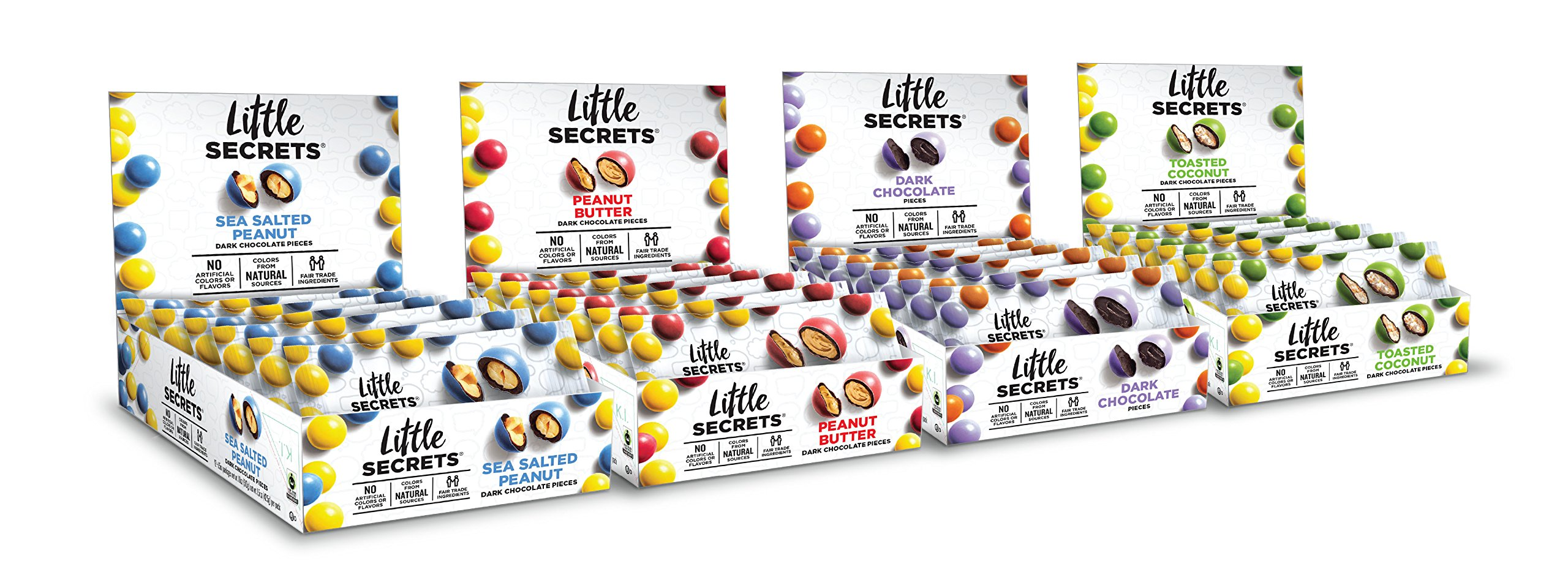 Little Secrets - All Natural Fair Trade Gourmet Chocolate Candy - 4 Flavor Caddie Variety Pack - {48ct, 1.5oz Caddie Variety Pack} The World's Most Delicious Chocolate Candies