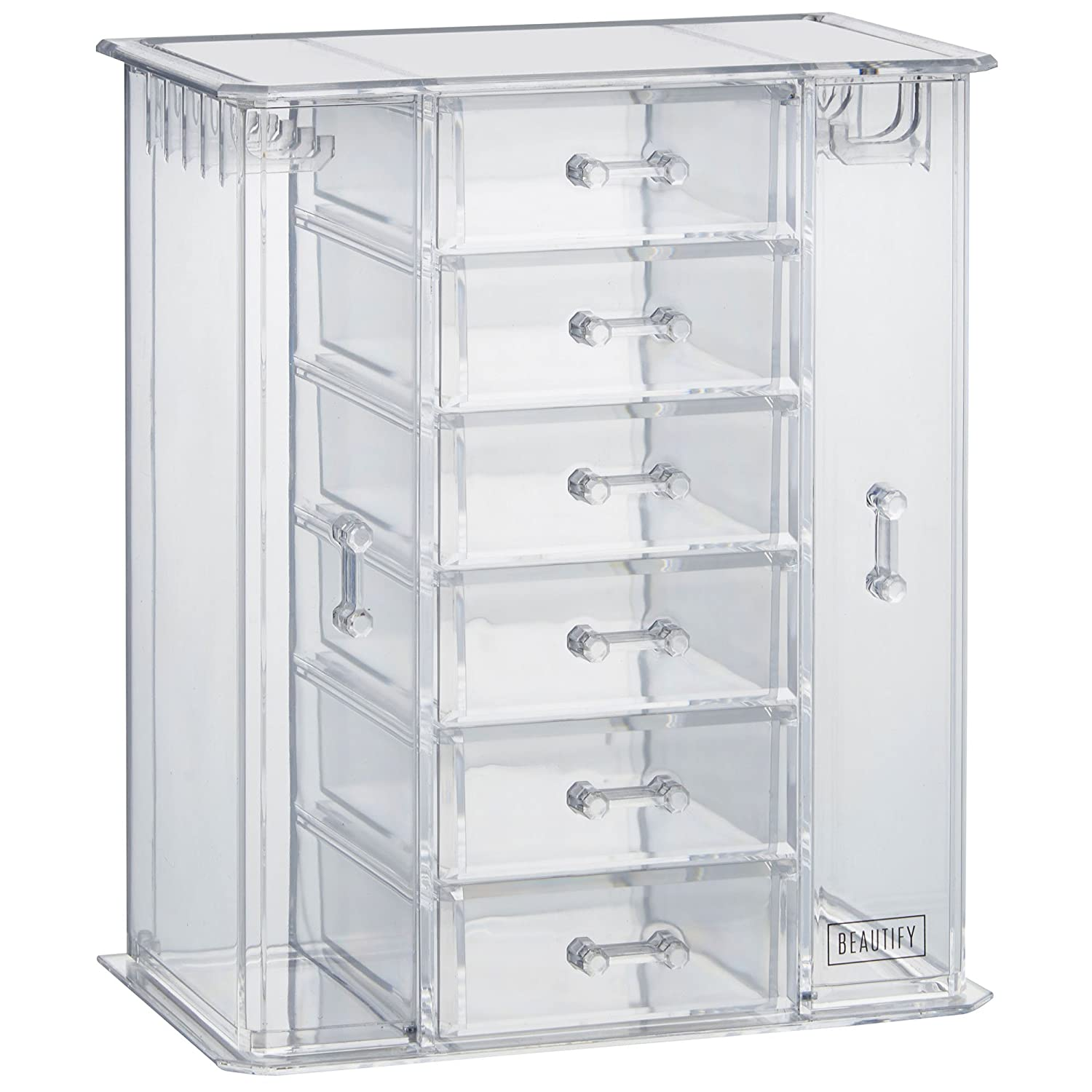 39b5f18f9615 Amazon.com: Beautify Clear Acrylic Jewelry Organizer Chest/Makeup Storage  Box with 6 Drawers & Hanging Necklace Holder - Clear: Home & Kitchen