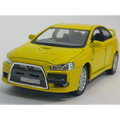Kinsmart Canary Yellow 2008 Mitsubishi Lancer Evo Evolution X 1/36 Scale Diecast Car: Toys & Games