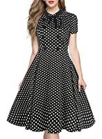 Women's A Line Casual Party Dresses Cocktail Vintage Dots Swing with Sleeve BK166