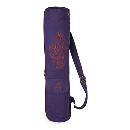 b215229b30d Amazon.com   Gaiam Embroidered Cargo Yoga Mat Bag, Aubergine Swirl ...