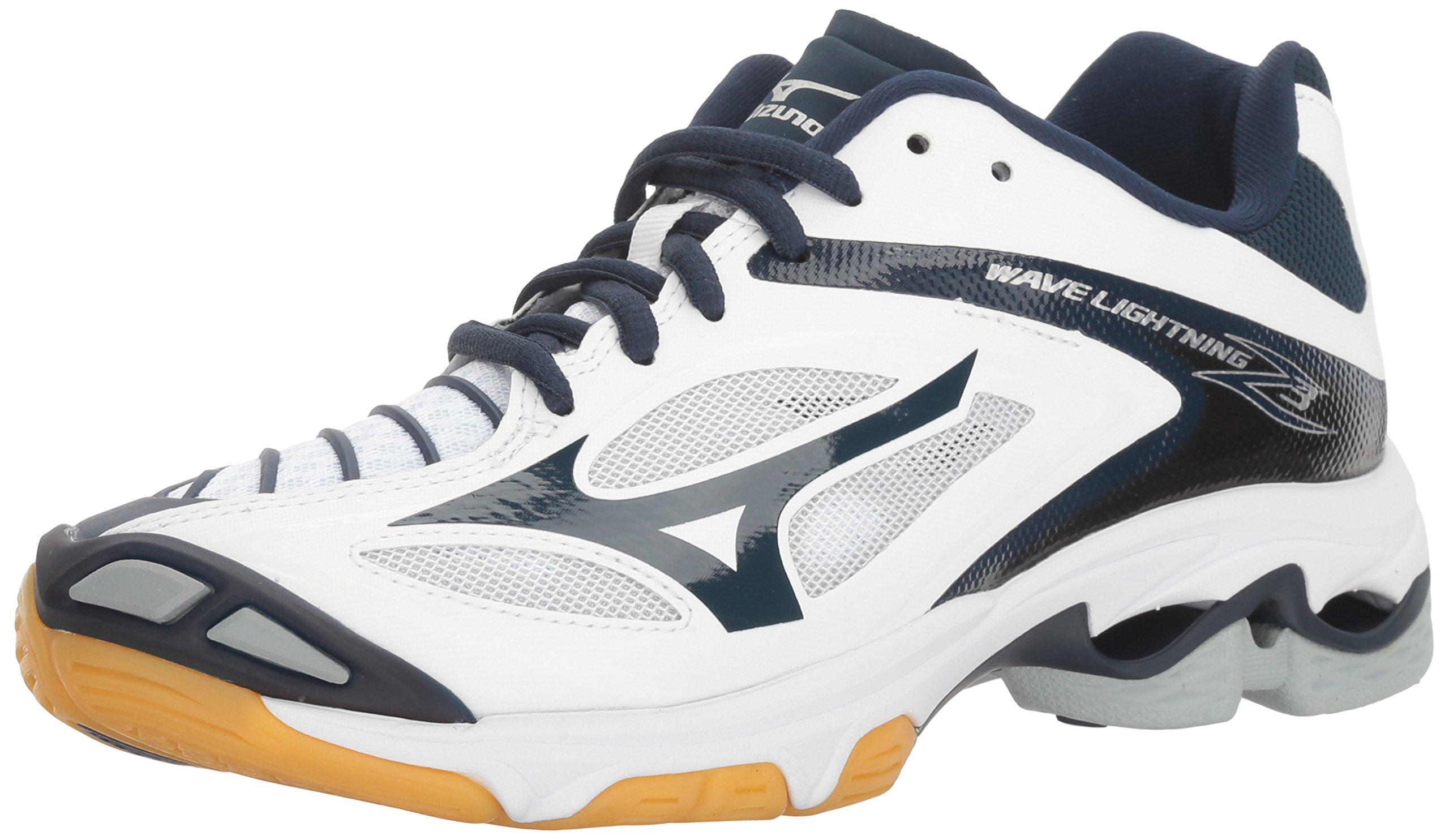 Mizuno Women's Wave Lighting Z3 Volleyball Shoe,White/Navy,6 B US