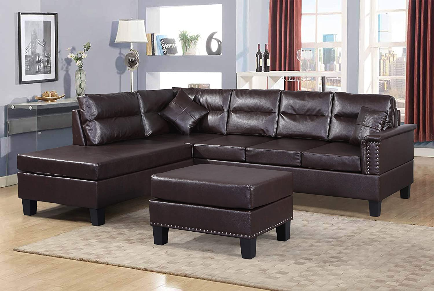 Harper & Bright Designs 3-Piece Sectional Sofa Set PU Leather Cushions Set  with Ottoman (Brown PU Leather)