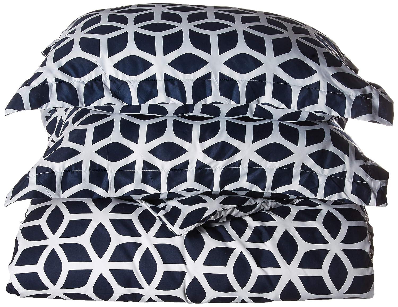 Chic Home 2 Piece Elizabeth Geometric Diamond Printed Reversible Duvet Cover Set, Twin, Grey DS1495-AN