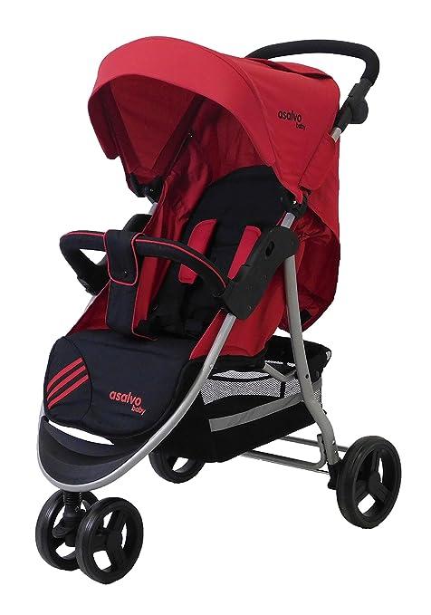 Asalvo Running Stripe - Silla de paseo plegable y multifuncional, color rojo