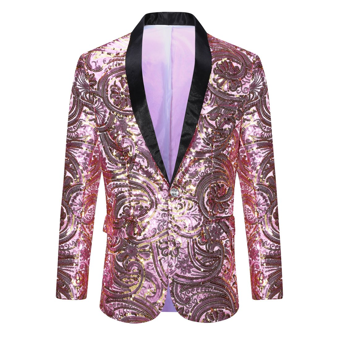 PYJTRL Men's Pink Gold Flower Pattern Wedding Groom Singer Sequins Suit Jacket (Pink, Tag XL (US M) Chest 41.5'') by PYJTRL